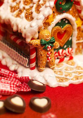 stock vista: Close-up of candy and a ginger bread house