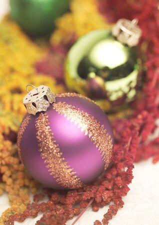 stock vista: Close-up of Christmas tree decorative balls