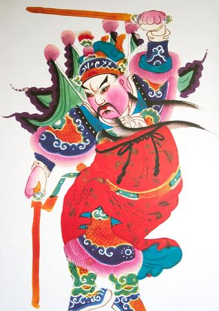stock vista: Close-up of paintings depicting Chinese gods Stock Photo
