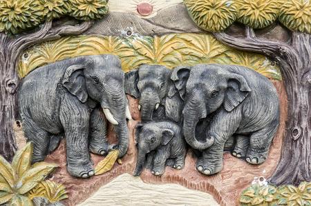 stucco: Stucco of elephant family