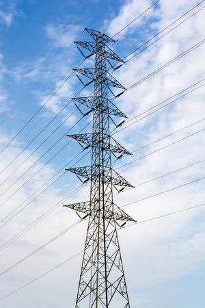 pylon: electricity transmission pylon Stock Photo