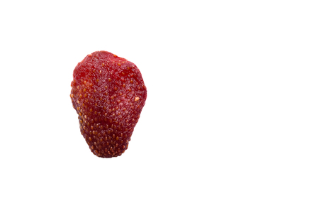 freeze dried: dried strawberry. Isolated on white background with clipping path and copy space