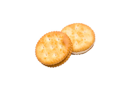 biscuits: Sandwich biscuits with cream. Isolated on white background with clipping path and copy space