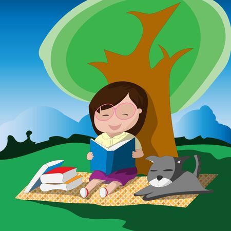 Young girl with glasses reading a book below the tree with her dog. Vector illustration Stock Photo
