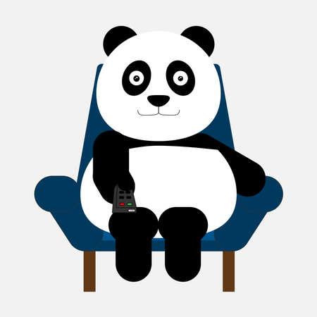watching television: Panda sitting on the sofa and old the remote in hand for watching television. Vector illustration. Stock Photo