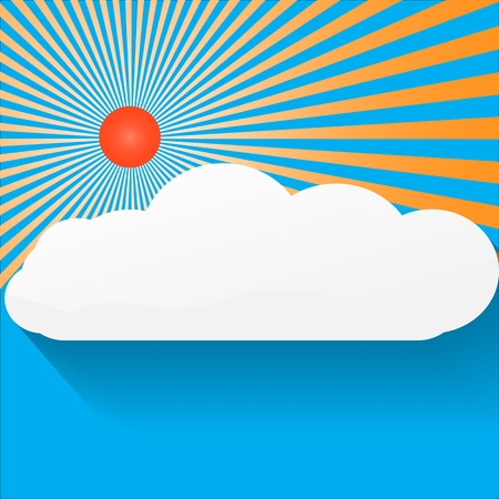 fluffy clouds: Blue Sky and Sunshine Background Big bright sunburst in left top corner, large copy space on bottom side with soft fluffy clouds. Vector illustration.
