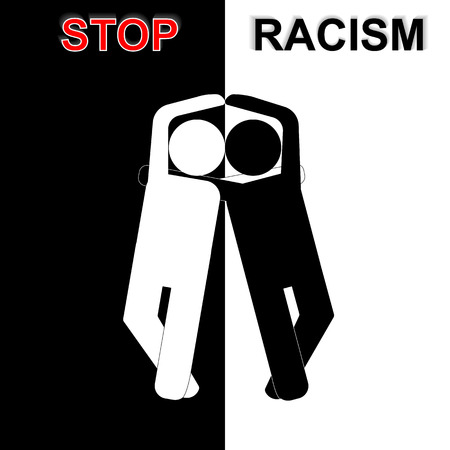 racismo: Pare el racismo en idea de blanco y negro. Ilustraci�n del vector.