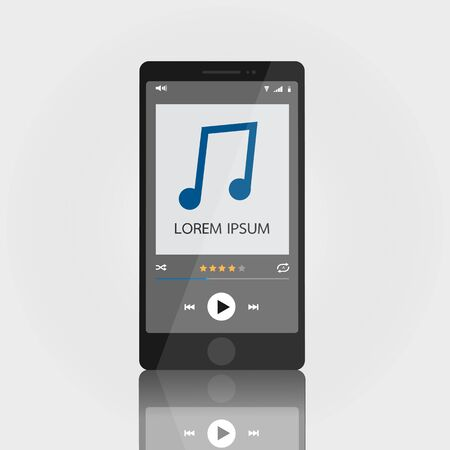 music player: Smartphone with music media player interface template, elegant design. Clean and modern style. Vector illustration. EPS10