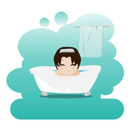 mujer bañandose: Hombre que toma un relajante baño de burbujas en el baño. Ducha. Ilustración de la higiene personal. Ilustración del vector.