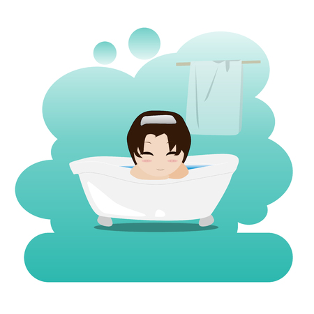 personal hygiene: Man taking a relaxing bubble bath in the bathroom. Shower. Picture on personal hygiene. Vector illustration. Stock Photo