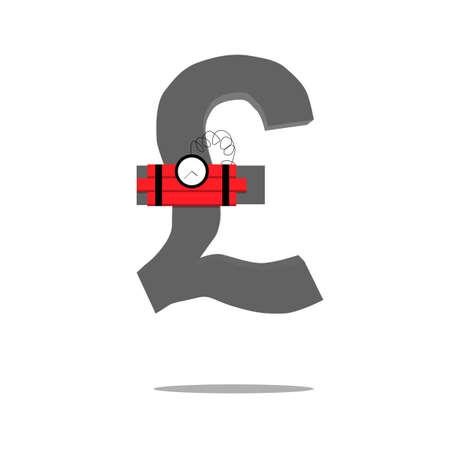 sterling: Crisi monetaria Simbolo della sterlina. Illustrazione vettoriale.