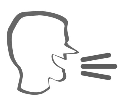 loud noise: A human head with a talk or speak icon. Loud noise symbol. Human talking sign Stock Photo