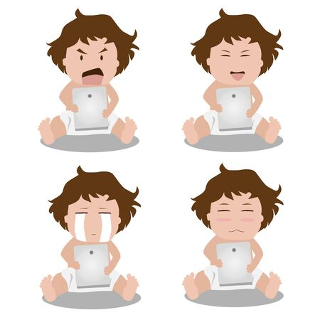 tablet vector: Kids face expressions when using tablet. Vector illustration.