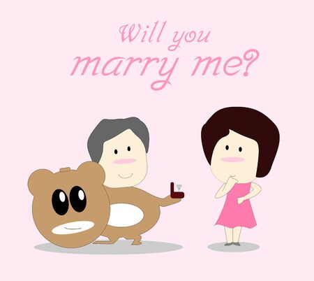 will you marry me: Will you marry me. Card for lover. Vector illustration. Stock Photo