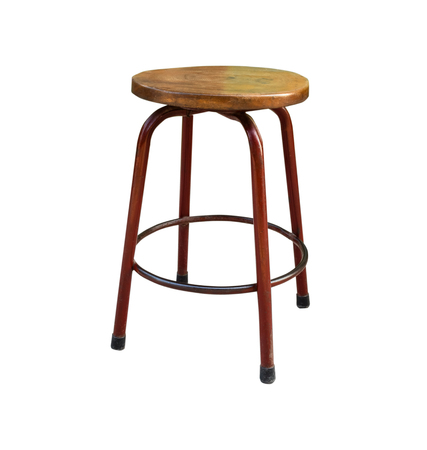 bar chair: Wooden steel legs simplistic bar chair. Isolated on white background with copy space and clipping path
