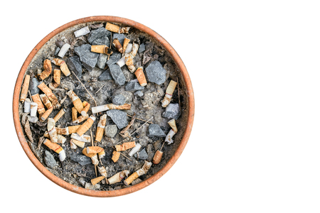 Ashtray of cigarette made of terra cotta. Isolated on white background with copy space Stock Photo