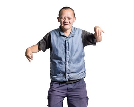 Portrait of a man with down syndrome. Isolated on white background Imagens