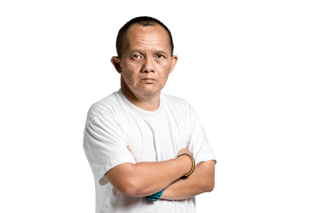 disadvantaged: Portrait of a man with down syndrome. Isolated on white background with clipping path Stock Photo