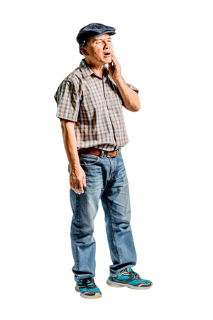 portrait of a mature man with a toothache. Isolated full length on white background