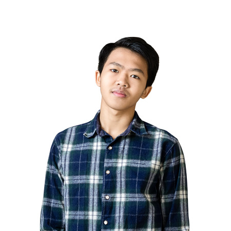 Portrait of a young asian businessman. Isolated on white background with copy space Stock Photo