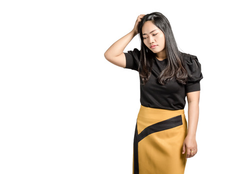 Portrait of a beautiful  asian business woman is confused. Isolated on white background with copy space