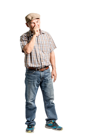 disgusted: portrait of a mature man is smelly. Isolated full length on white background Stock Photo