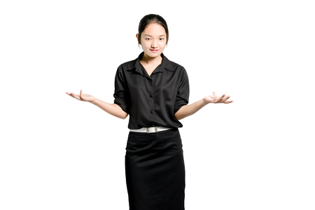 Portrait of a beautiful asian woman in a pose I do not know with black uniform. Isolated on white background with copy space and clipping path