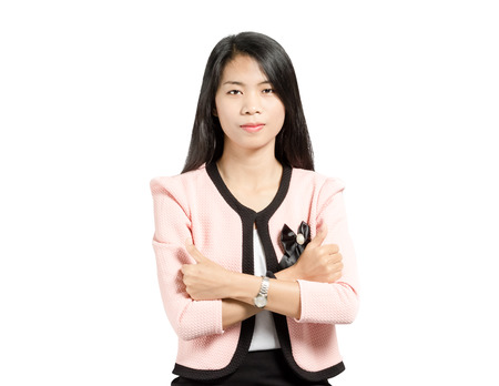 Portrait of a beautiful  asian business woman smiling and showing thumb up. Isolated on white background with copy space and clipping path