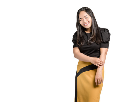 Portrait of a beautiful  asian business woman is smiling. Isolated on white background with copy space and clipping path