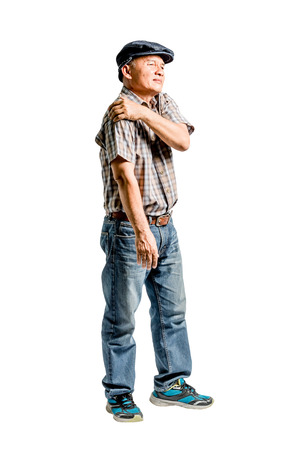 portrait of a mature man with a shoulder ache. Isolated full length on white background with clipping path