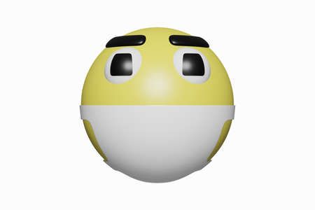 3D rendering. Yellow and face shape emoticons, showing the importance of wearing mask because of Covid 19 isolated on white background. Modern virus design and realistic Stock Photo