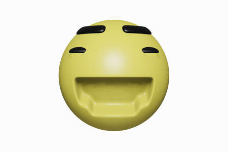 3D rendering. Yellow face happy and smile isolated on white background. Modern design and realistic Stock Photo