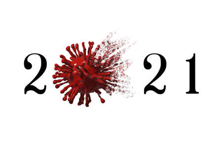 3D rendering.2021 Vaccine against COVID-19 virus cell under the microscope isolated on white background. Modern virus design and realistic