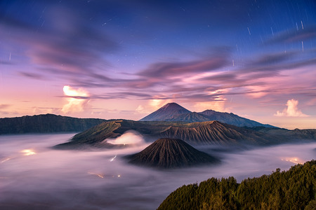 tengger: Fallen stars with wonderful sky at sunrise over Mount. Bromo at Bromo tengger semeru national park, East Java, Indonesia