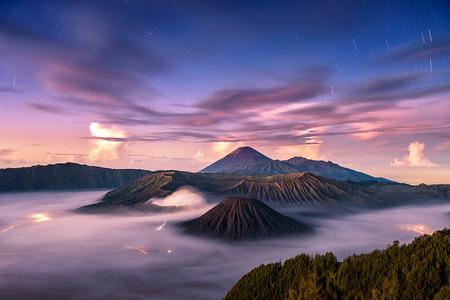 tengger: Fallen stars with wonderful sky at sunrise over Mount. Bromo at Bromo tengger semeru national park, East Java, Indonesia