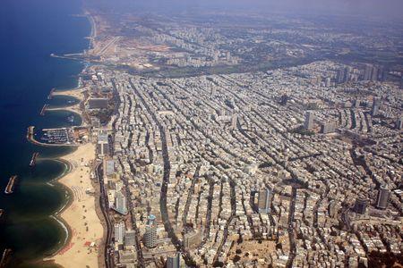 tel: Aerial view of the Tel Aviv coastline Stock Photo