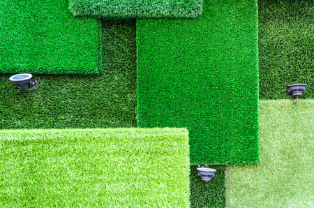Artificial grass and lights for decoration photo