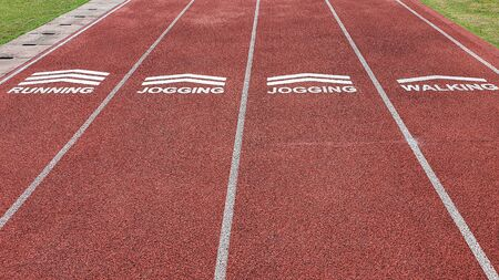Athletic running track for running, jogging, walking. Sign for Sport and exercise concept.