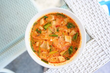 Squid Tom Yam , Spicy and Sour Squid soup. Traditional Thailand Food  topview