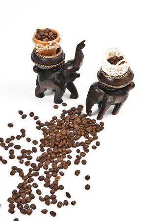 keep coffee grain in the basket Stock Photo