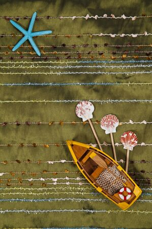 Thai silk with boat Stock Photo