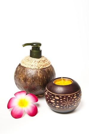 Coconut shell pot with pump head photo