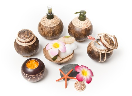 Coconut shell pot in circle  photo