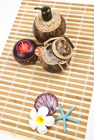 Spa and Aroma set on the bamboo mat