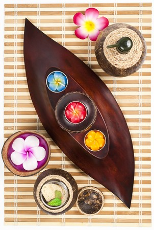Beautiful candles on the wooden leaf tray upside down photo