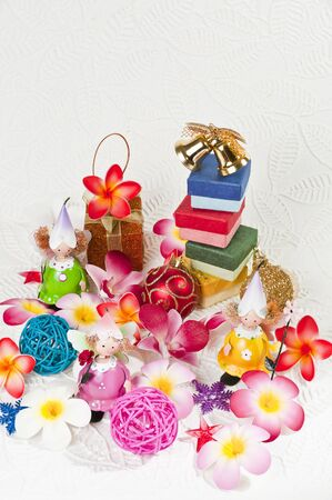 Angels with flower and Christmas gift Stock Photo - 8385409