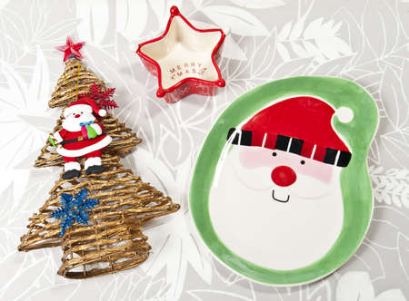 Santa plate with Christmas tree and star cup Stock Photo - 8385417