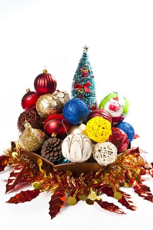 Christmas ball decorations in the wooden tray Stock Photo - 8457132