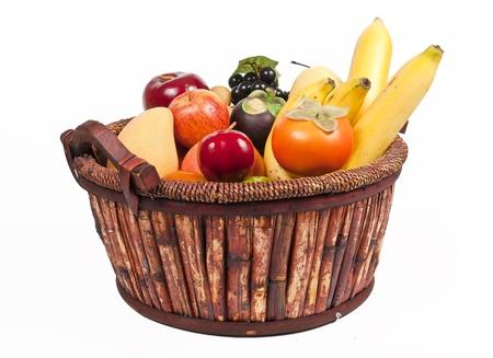 Canasta de frutas saludables Foto de archivo
