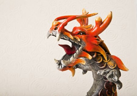 Close up head of dragon isolated on paper background photo